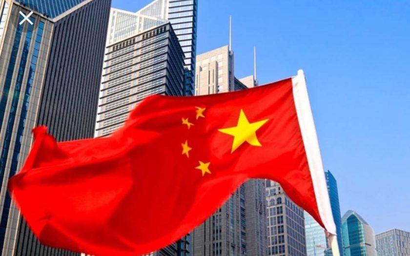Pékin avec Drapeau chinois au vent