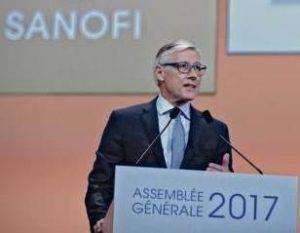 Olivier Brandicourt lors d'une AG de Sanofi en 2017