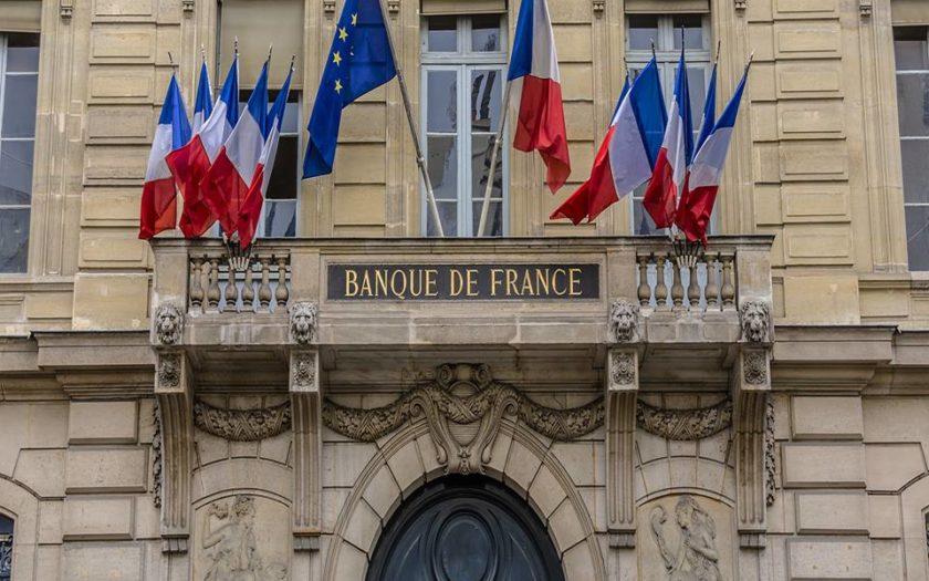 A l'entrée du siège de la Banque de France