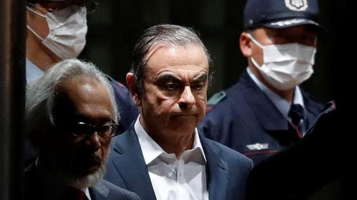 Carlos Ghosn lors de son procès au Japon en avril 2019