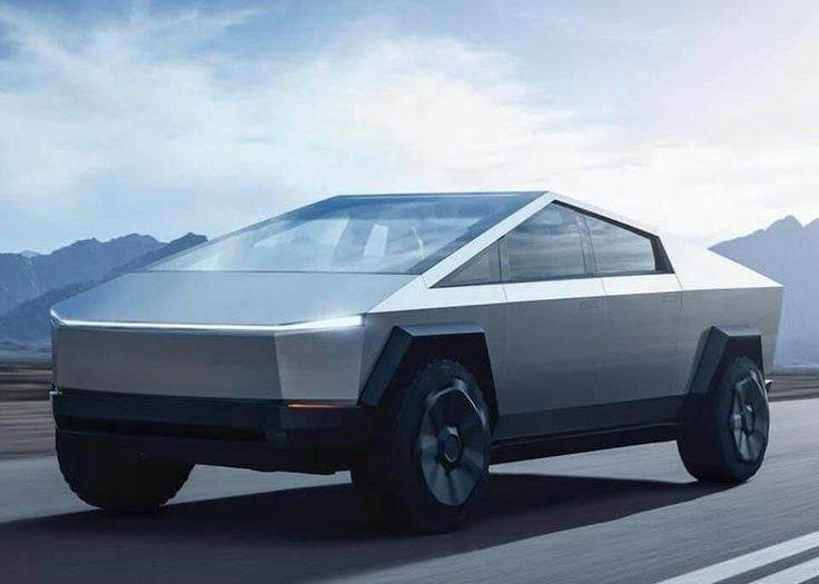 Le CyberTruck de Tesla, véhicule utilitaire tout terrain à benne ouverte et 100 % électrique.