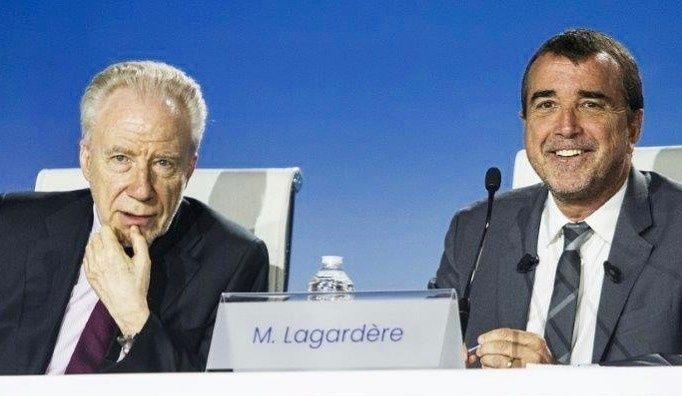 Arnaud Lagardère (à droite) lors de l'Assemblée nationale du groupe Lagardère le 10 mai 2019.
